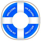Lifebuoy of the blue color with the inscription Welcome aboard on board. vector illustration