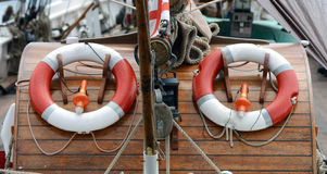 Lifebuoy on board Stock Image