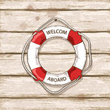 Lifebuoy on boards of ship deck background Stock Photos