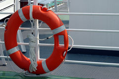 Lifebuoy on boat. Orange lifebuoy on railings of boat stock image