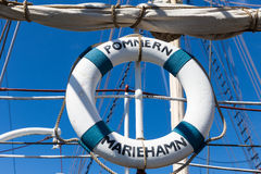 Lifebuoy on boat. Pommern is windjammer.She is four-masted barque that was built in 1903 in Glasgow at J. Reid & Co shipyard. She is now museum ship and is Stock Photography