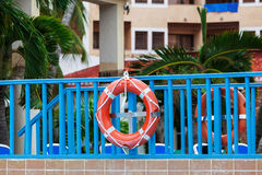 Lifebuoy on a bridge Royalty Free Stock Image