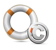 Lifebuoy and C symbol.Isolated on white. Royalty Free Stock Photos