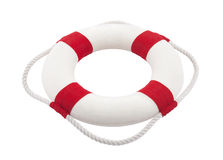 Lifebuoy with clipping path. Isolated on white Royalty Free Stock Image