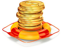 Lifebuoy with a coins for capital preservation Royalty Free Stock Photos