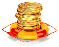 Lifebuoy with a coins for capital preservation Stock Photography