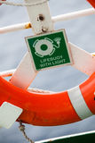 Lifebuoy color detail. Color image of a lifebuoy on a boat Royalty Free Stock Photos