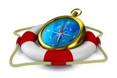 Lifebuoy and compass on white background Stock Image