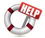 Lifebuoy con la muestra roja de la ayuda Imagen de archivo