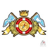 Lifebuoy with crown in center of golden wreath between wings and flags. Sport logo for any yachting or sailing team or championshi. P isolated on white royalty free illustration