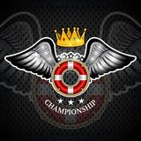 Lifebuoy with crown between wings. Sport logo for any yachting or sailing team. Or championship vector illustration