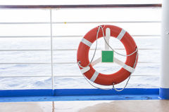 Lifebuoy. The lifebuoy on the cruise deck royalty free stock photography