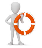 The lifebuoy!. 3D small people - a lifebuoy. 3D image. On a white background Royalty Free Stock Photo