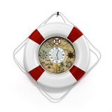 Lifebuoy decor in the form of clock 3c render on a white backgro Royalty Free Stock Images