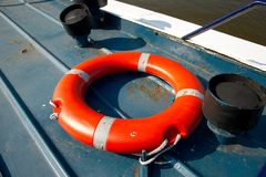 Lifebuoy. In a dock by the water Stock Photo