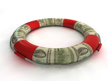 Lifebuoy and dollar money Royalty Free Stock Images