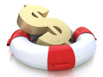 Lifebuoy and a dollar sign. When you make a business-related information and salvation vector illustration