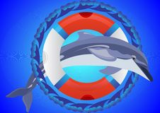 Lifebuoy and dolphin Stock Images