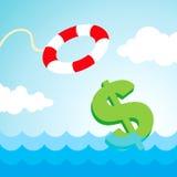 Lifebuoy e un segno del dollaro Immagini Stock