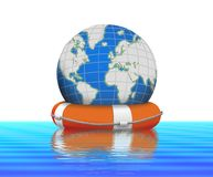 Lifebuoy and earth globe floating in water. Lifebuoy and earth globe floating in blue water Royalty Free Stock Photo