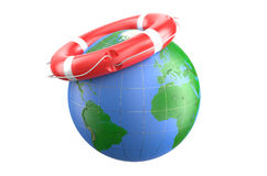 Lifebuoy and earth Royalty Free Stock Photo