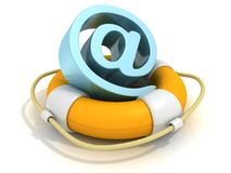 Lifebuoy Email AT blue symbol on white Stock Image