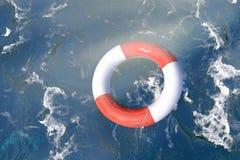 Lifebuoy en el océano Fotos de archivo libres de regalías