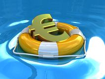 Lifebuoy and euro, 3D Stock Image