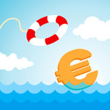 Lifebuoy and a euro sign. Sinking euro sign and the flying lifebuoy Stock Photos