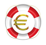 Lifebuoy with euro sign Stock Photography