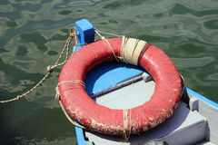 Lifebuoy in fishing boat Stock Photo