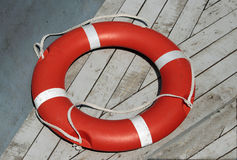 Lifebuoy in fishing boat Stock Images