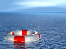Lifebuoy, floating on sea. Lifebuoy, floating on waves. 3d Royalty Free Stock Images