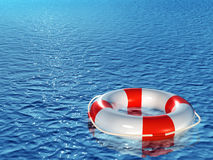 Lifebuoy, floating on sea. Lifebuoy, floating on waves. 3d Royalty Free Stock Photography
