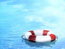 Lifebuoy, floating on waves. 3d Stock Images