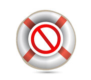 Lifebuoy and forbid symbol.Isolated on white. Royalty Free Stock Photography