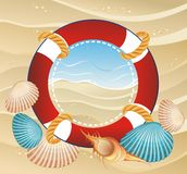 Lifebuoy frame with summer  background Royalty Free Stock Photo