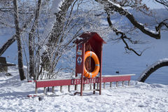 Lifebuoy in front of the lake Royalty Free Stock Images