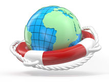 Lifebuoy and globe Earth Stock Photos
