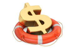 Lifebuoy with golden dollar symbol, 3D rendering Royalty Free Stock Photography