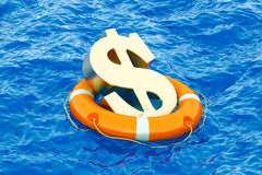 Lifebuoy with golden dollar symbol on the open sea, 3D rendering. Lifebuoy with golden dollar symbol on the open sea Stock Photos