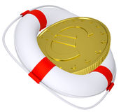 Lifebuoy with golden euro Royalty Free Stock Images