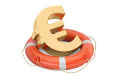 Lifebuoy with golden euro symbol, 3D rendering Royalty Free Stock Photography