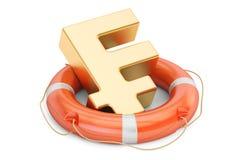 Lifebuoy with golden franc symbol, 3D rendering Stock Image