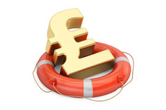 Lifebuoy with golden pound sterling symbol, 3D rendering Stock Photo