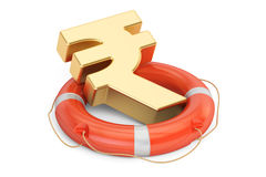 Lifebuoy with golden rupee symbol, 3D rendering Stock Images