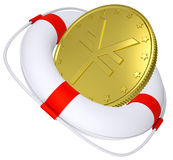 Lifebuoy with golden yen Stock Photo