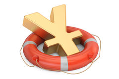 Lifebuoy with golden yen or yuan symbol, 3D rendering Stock Photography