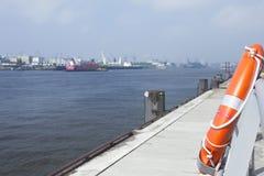Lifebuoy Hamburg harbour Stock Photography