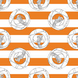 Lifebuoy hand drawn pattern on the orange strips Royalty Free Stock Photo